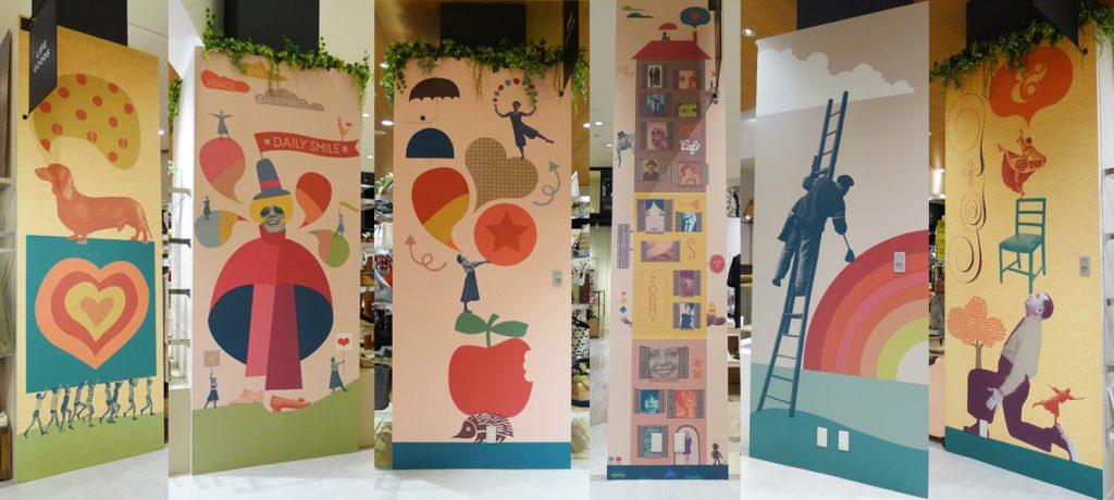 総合ファッションサービスグループ、ワールドグループのファッションストア「FLAXUS(フラクサス)」が、イオンモール広島府中にて展開する店舗 、フラクサス広島店のグラフィックデザイン画像