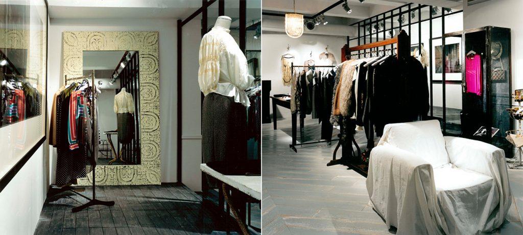 総合ファッションサービスグループ、ワールドグループのレディースブランド「foundfles(ファウンドフレス)」が展開する店舗、ファウンドフレス代官山店の店舗デザイン、内装、VMD