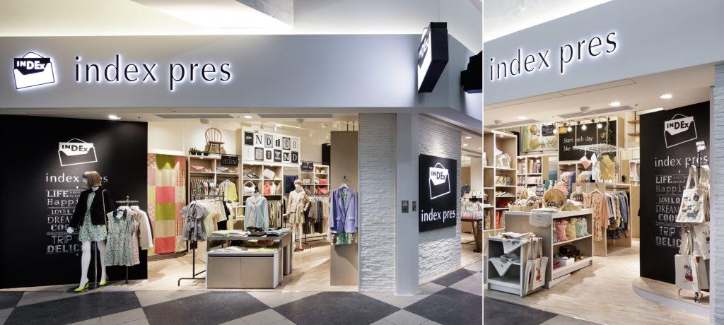 総合ファッションサービスグループ、ワールドグループのファッションブランド「index(インデックス)」が展開する店舗、インデックスプレ渋谷東急東横店の店舗デザイン、内装、VMD