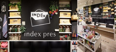 総合ファッションサービスグループ、ワールドグループのファッションブランド「index(インデックス)」が展開する店舗、インデックスプレ渋谷東急東横店の店舗デザイン、内装、VMD、グラフィックデザイン