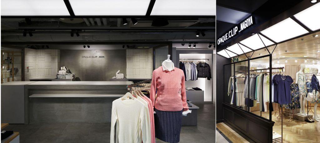総合ファッションサービスグループ、ワールドグループのファッションブランド「OPAQUE.CLIP(オペークドットクリップ)」が展開する店舗、オペークドットクリップJR名古屋タカシマヤ店の店舗デザイン、内装、VMD