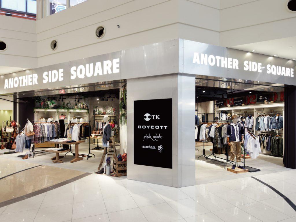 総合ファッションサービスグループ、ワールドグループのファッションブランド「ANOTHER SIDE SQUARE(アナザーサイドスクエア)」が展開する店舗、アナザーサイドスクエアあべのキューズモール店の店舗デザイン、外観、VMD