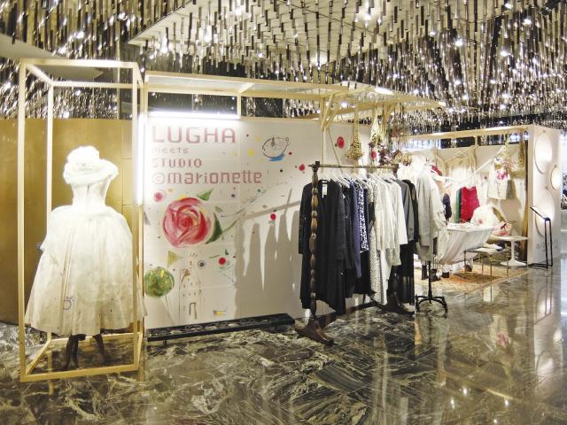 伊勢丹新宿店本館3階フロア、ザ・ステージで展開するポップアップ・ストア「LUGHA meets STUDIO @marionette」のVMD、ディスプレイ画像
