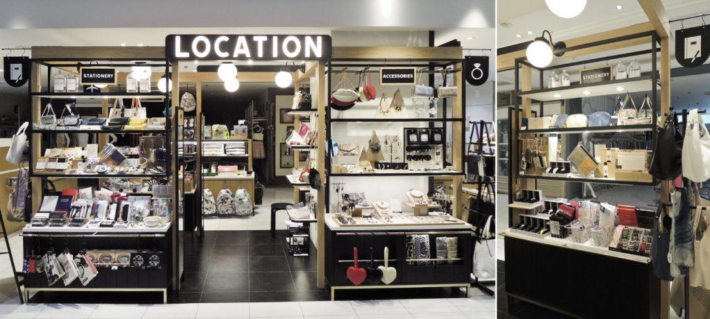 総合ファッションサービスグループ、ワールドグループの雑貨ブランド「LOCATION(ロケーション)」の店舗デザイン、外観、VMD