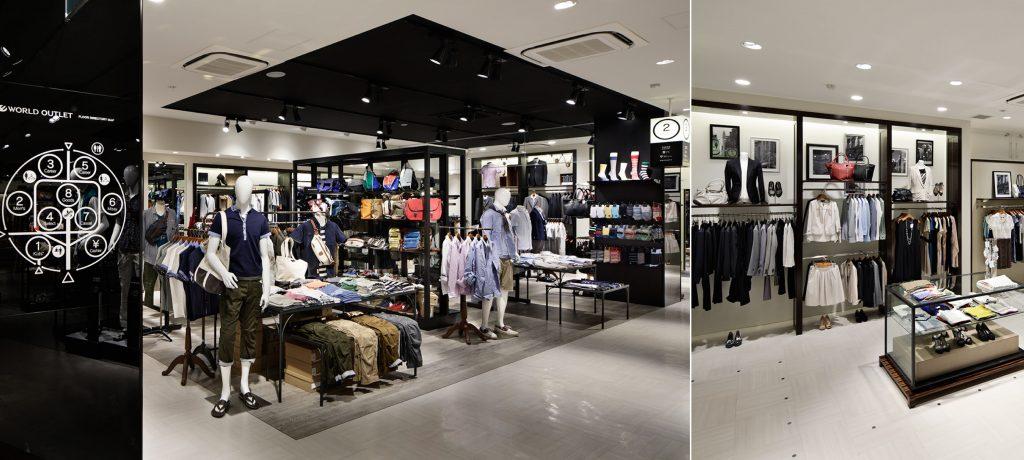 総合ファッションサービスグループ、ワールドグループのアウトレットストア「WORLD OUTLET(ワールドアウトレット)」が展開する店舗、三井アウトレットパークマリンピア神戸店の店舗デザイン、外観、VMD