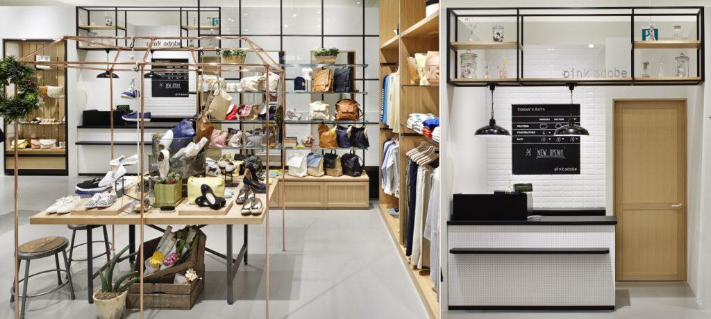 総合ファッションサービスグループ、ワールドグループのファッションブランド「pink adobe(ピンクアドベ)」が展開する店舗、ピンクアドベのイオンモール高の原店の店舗デザイン、内装、VMD