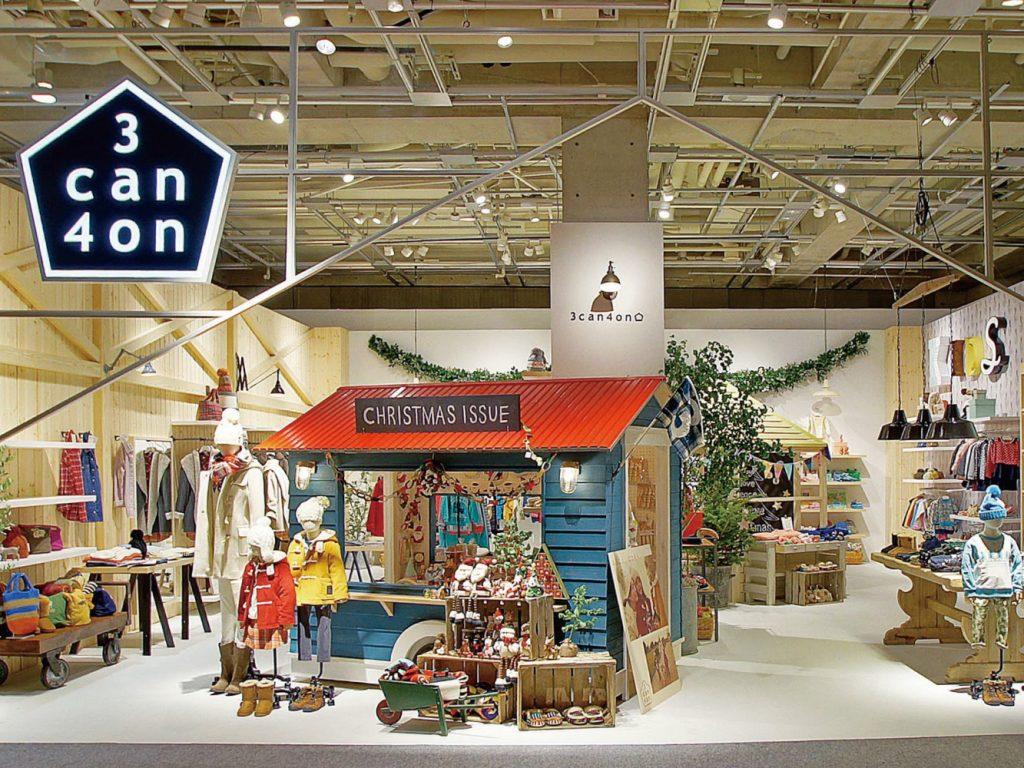 総合ファッションサービスグループ、ワールドグループのファッションブランド「3can4on(サンカンシオン)」の展示会、VMD、ディスプレイ画像