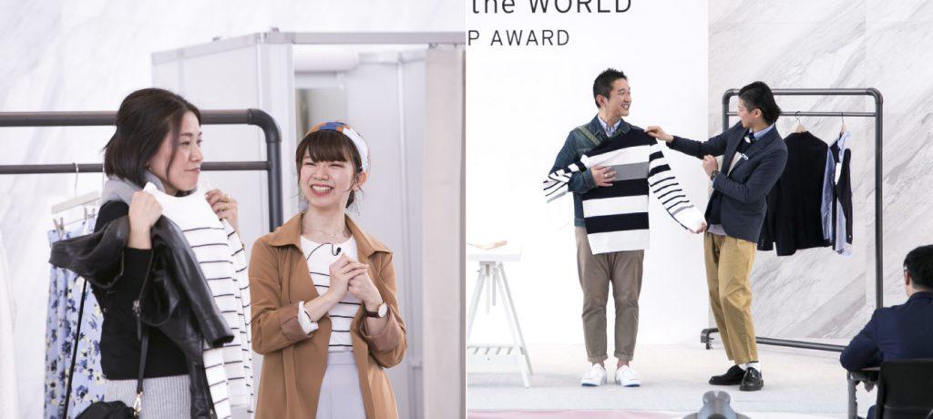 総合ファッションサービスグループ、ワールドの100%子会社、株式会社ワールドストアパートナーズによる販売教育プログラムの1つ、接客ロールプレイング研修の画像