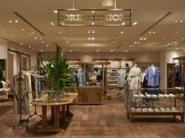 総合ファッションサービスグループ、ワールドグループのファッションブランド「DRESSTERIOR(ドレステリア)」が展開する店舗、ドレステリアGINZA SIX店の店舗デザイン、内装、VMD
