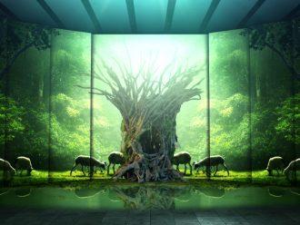 流木で作られた菩提樹と幻想的なプロジェクションマッピング