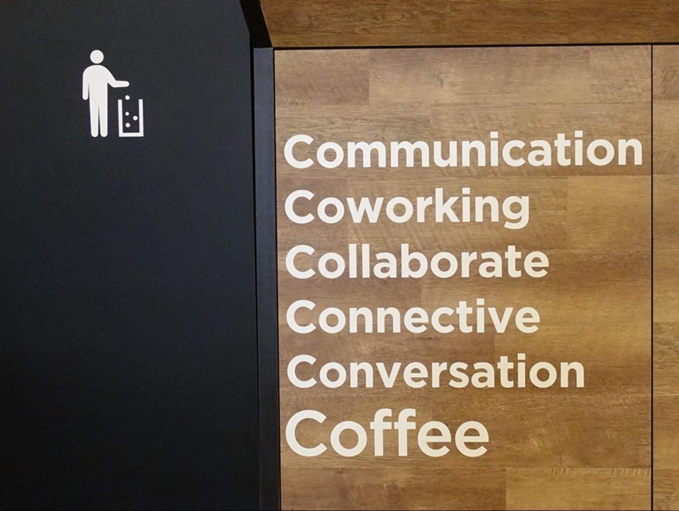 東京のUCCコーヒーアカデミーに設置された無人型コーヒースタンド「UCC Express」のグラフィックデザイン画像