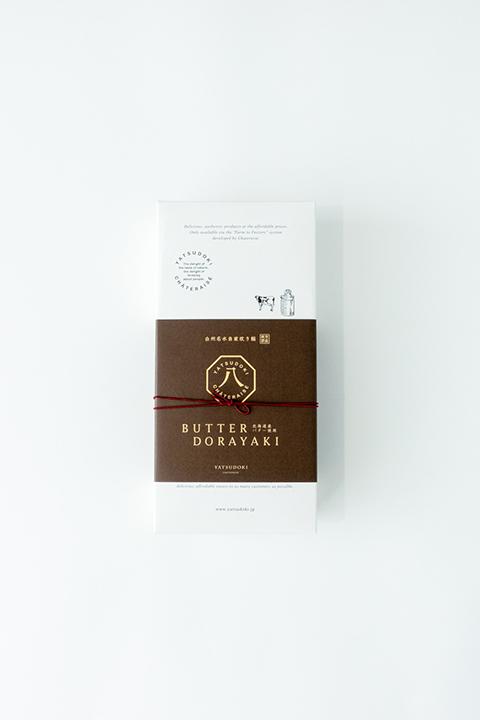 シャトレーゼ「YATSUDOKI(ヤツドキ)」のバターどら焼きのパッケージデザイン事例画像