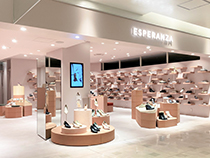 シューズブランド「ESPERANZA(エスペランサ)」の新たな店舗内装(ルミネエスト新宿店)