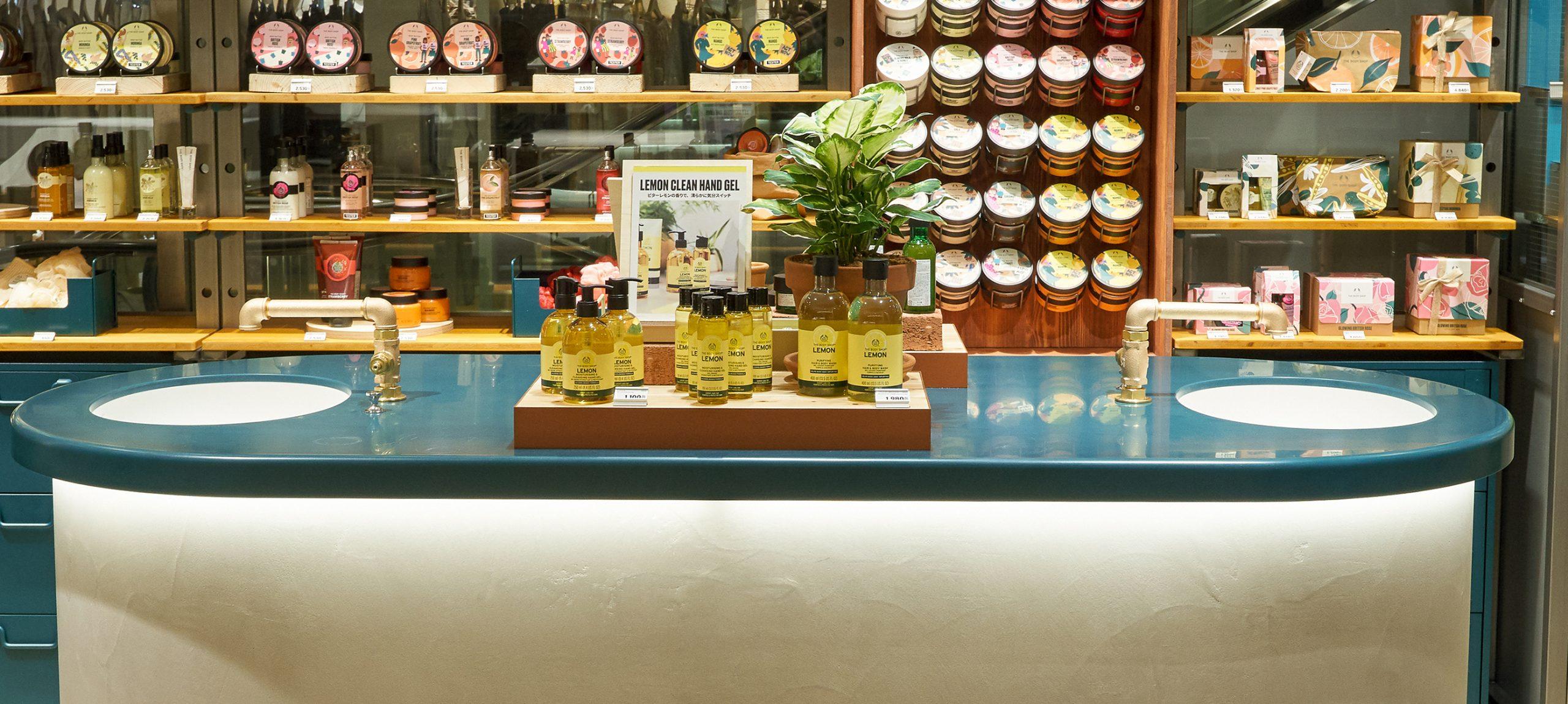 ザボディショップ名古屋タカシマヤゲートタワーモール店の什器家具製作事例画像